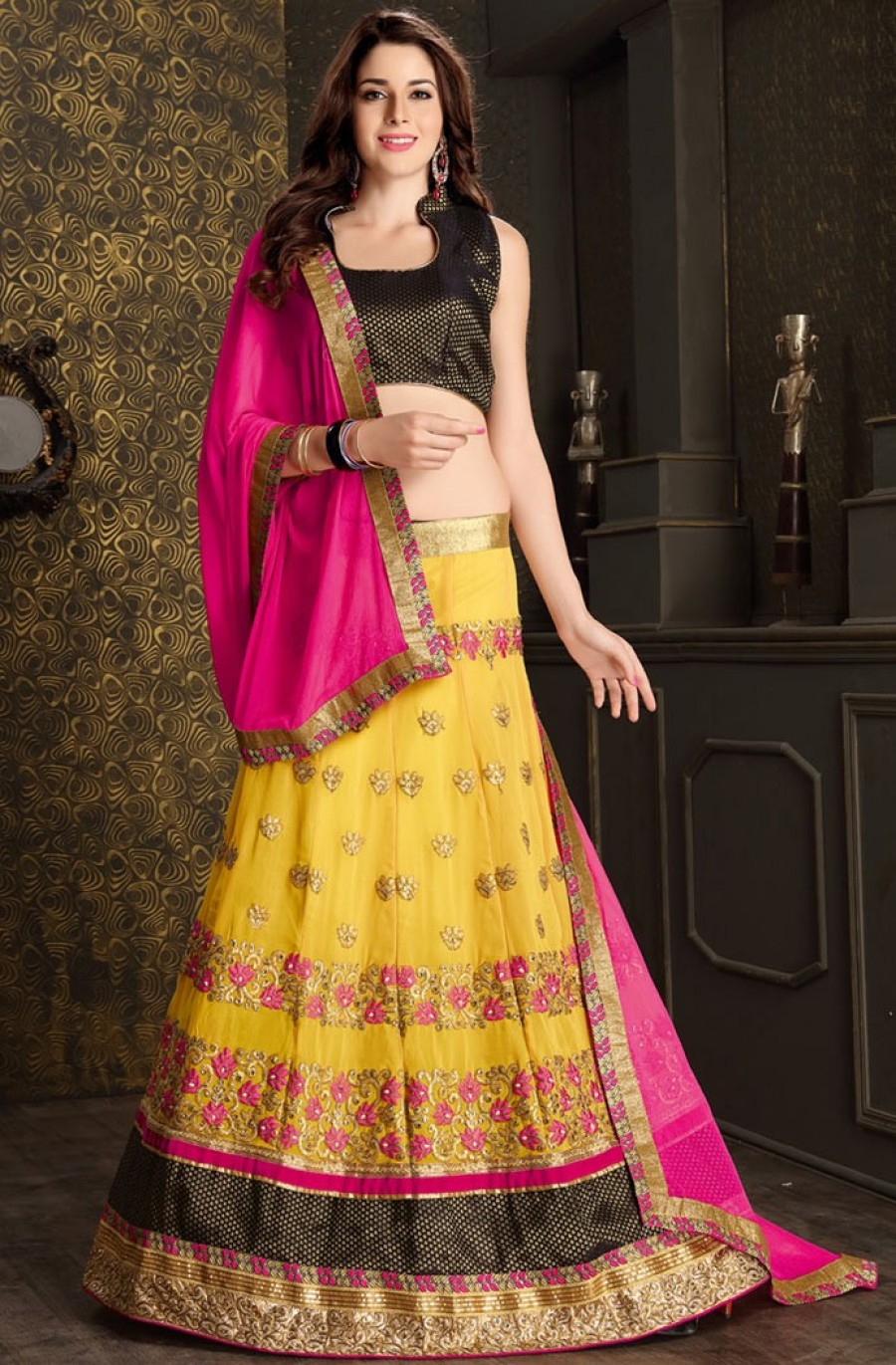 Buy Yellow Georgette Lehenga Choli With Dupatta  Online