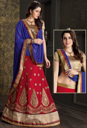 Buy Red Georgette Lehenga Choli With Dupatta  Online