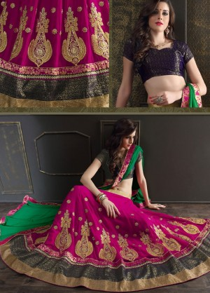 Buy Pink Georgette Lehenga Choli With Dupatta  Online
