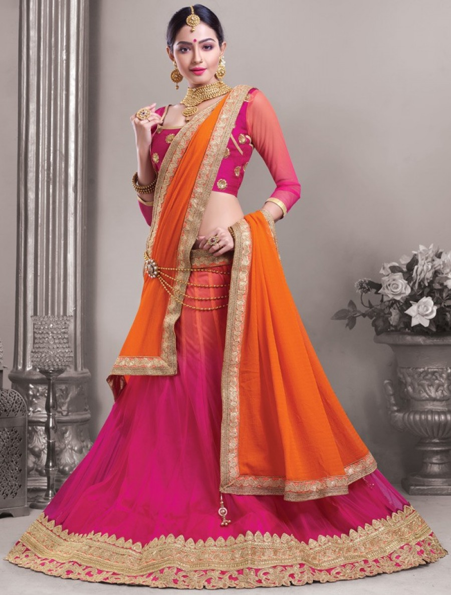 d05f0ccc66 Buy Pink Net Lehenga Choli With Dupatta | 549260