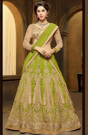 Buy Green Net Lehenga Choli With Dupatta Online
