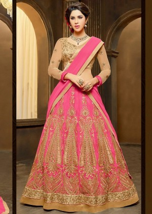 Buy Pink Net Lehenga Choli With Dupatta Online