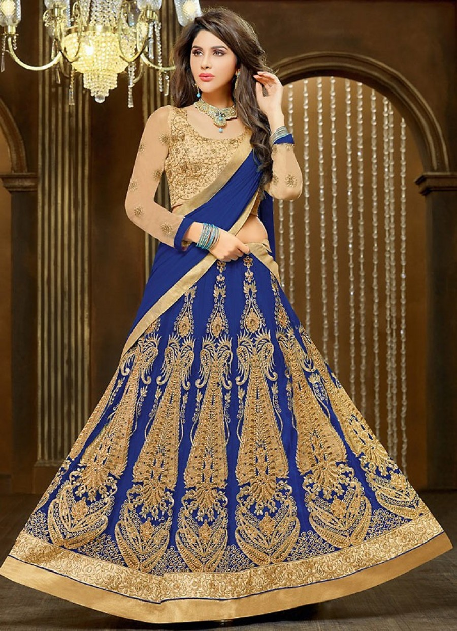 Buy Blue Net Lehenga Choli With Dupatta Online