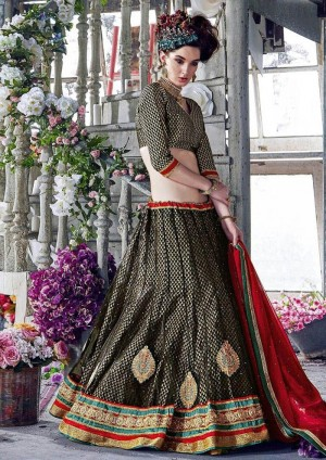 Buy Black Net Lehenga Choli With Dupatta Online