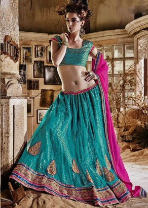 Buy Turquoise Net Lehenga Choli With Dupatta Online