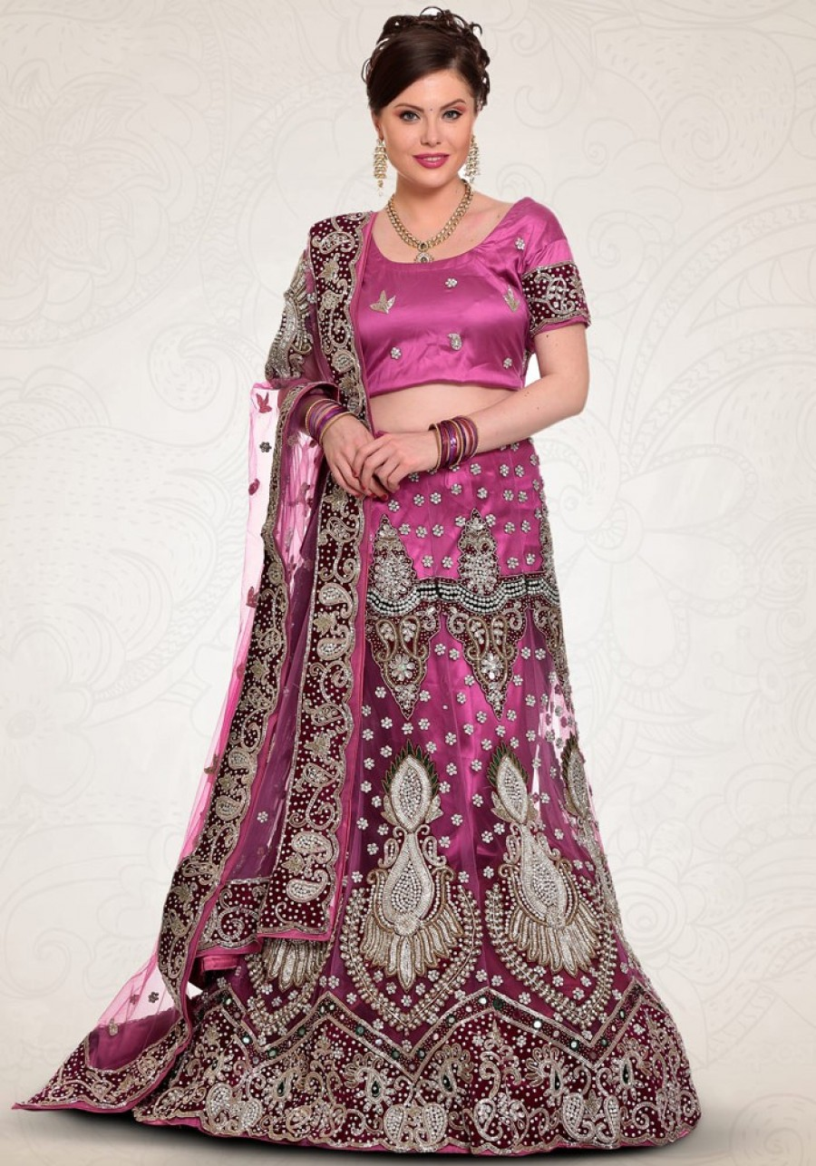 Buy Violet Net Lehenag Choli With Dupatta Online