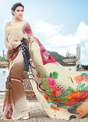Buy Enthusiastic Multi Color Fancy Georgette Saree Online