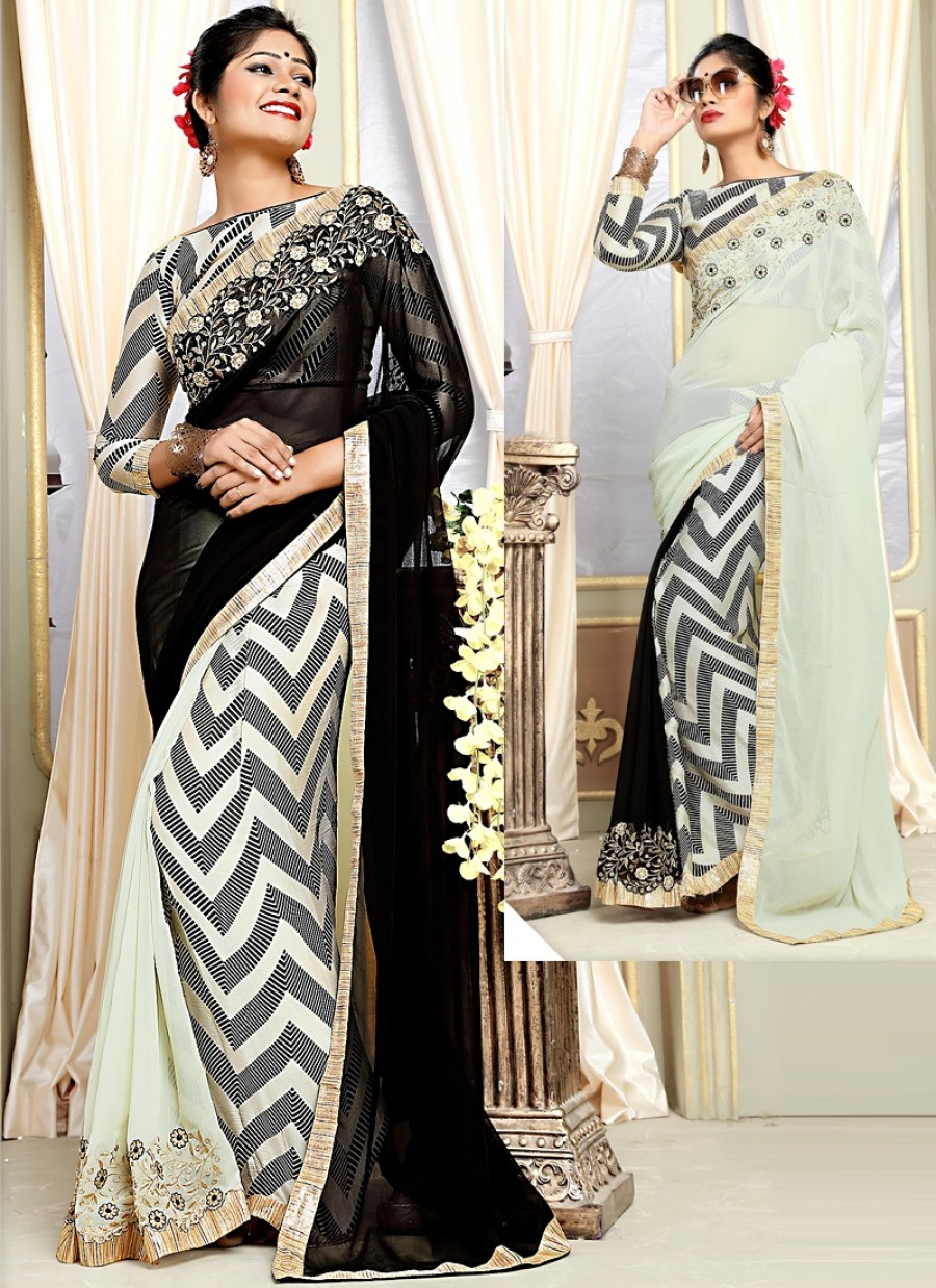 Buy Whimsical Multi Color Georgette Half And Half Saree Online