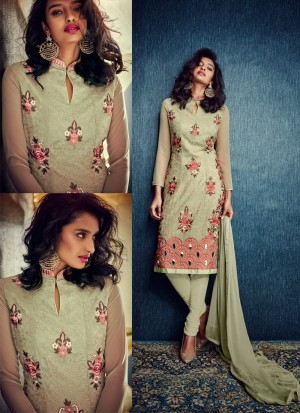 Buy Masterly Georgette Green Embroidered Work Designer Suit Online