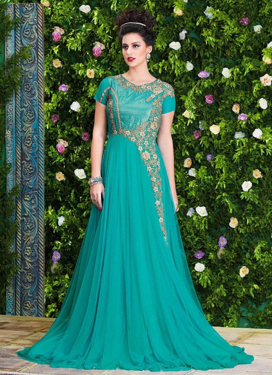 Purchase Online |Fetching Turquoise Net Party Wear Gown | 549514