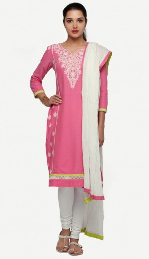 Buy Pink Crinkle Cotton Embroidered Unstitched Set Online