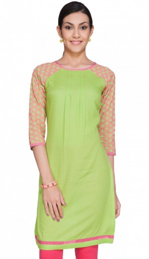 Buy Lime Honecomb Dobby Kurti With Pink Emroidery Online