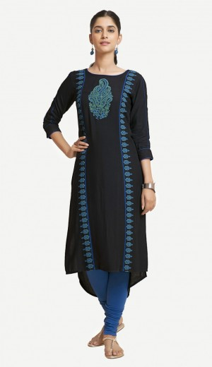 Buy Black Rayon Embroidered Kurti Online