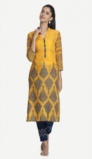 Buy Yellow Modal Digital Printed Kurti Online