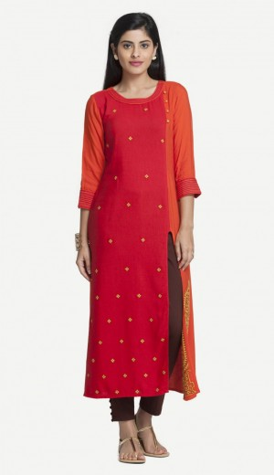 Buy Orange Linolio Embroidered Kurti Online