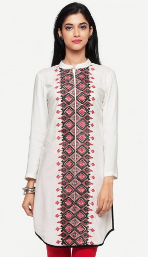 Buy White Embroidered Rayon Kurti Online