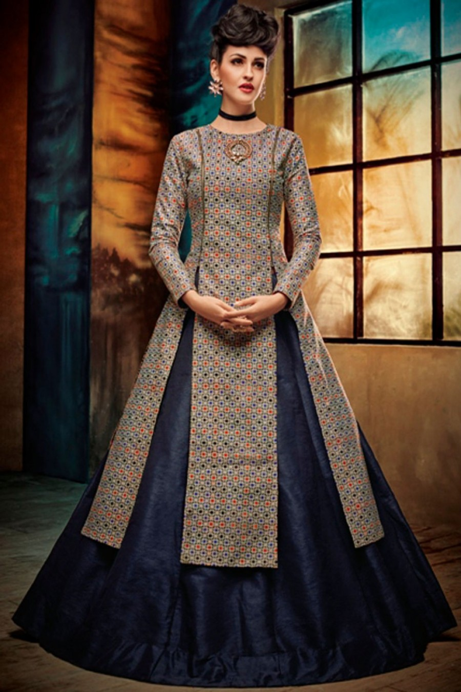 6a4735a29f Buy A Line Long Style Digital Printed Designer Silk Partywear Lehenga in Blue  Color Online