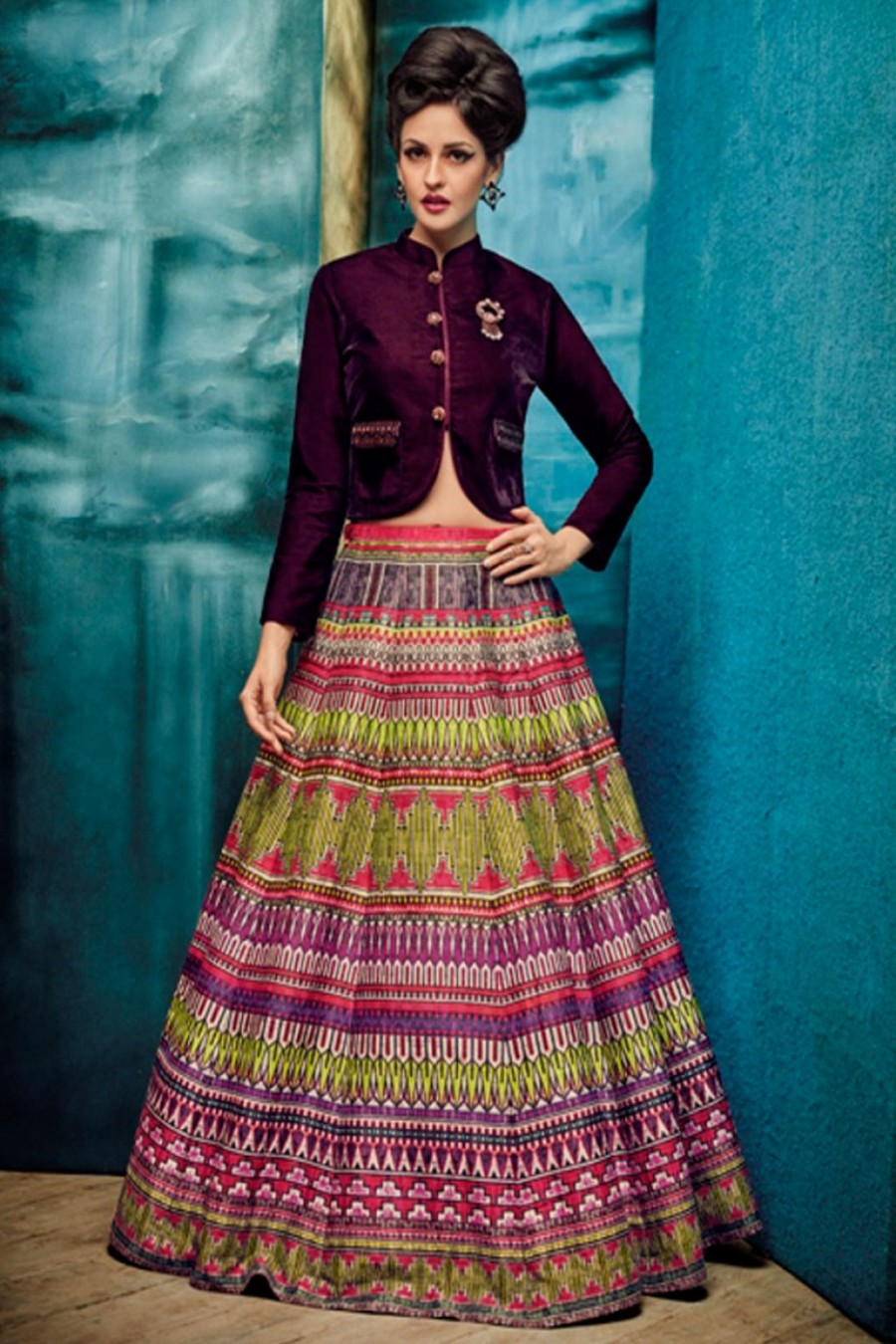 0a3a673096e609 Buy Purple Crop Top Style Indo Western Designer Partywear Multicolour  Lehenga Choli on Silk Fabric Online
