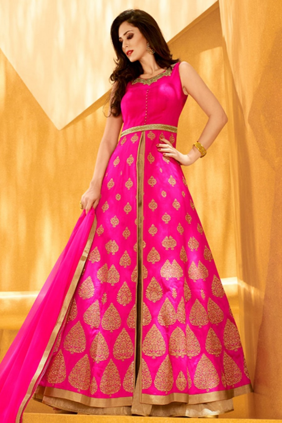 b74c039022 Buy Gold and Pink Zari Hand Work Party wear Wedding Lehenga in Indo Western  Style Online