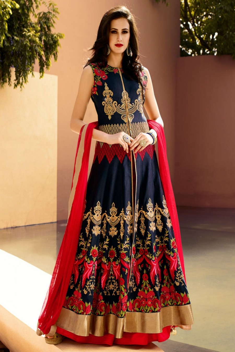 Exclusive Navy Blue And Red Mirror Work Designer Party Wear Indo