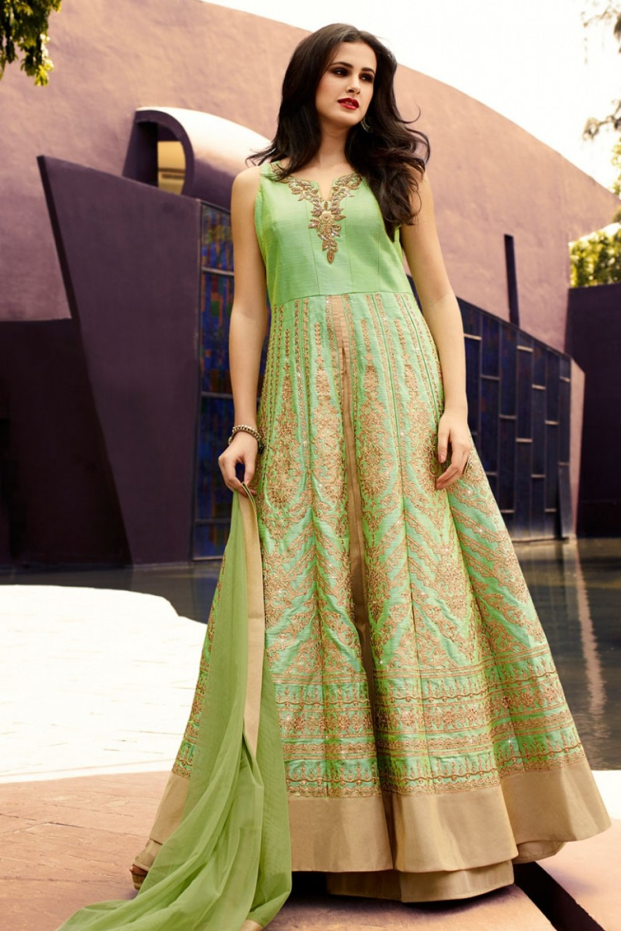 Light Green And Gold Indo Western Party Wear Grand Shimmer Lehenga