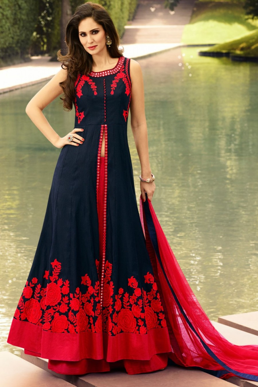 67f27d335 Buy Navy Blue and Red Indo Western Party Wear Lehenga in Raw Silk Fabric  Online