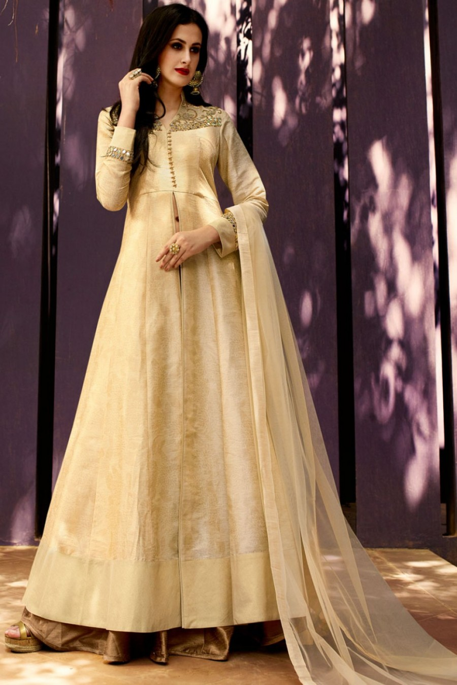 f2f2adcf09 Buy Art Silk Royal Party Wear Indo Western Lehenga in Light Brown and Beige  Color Online