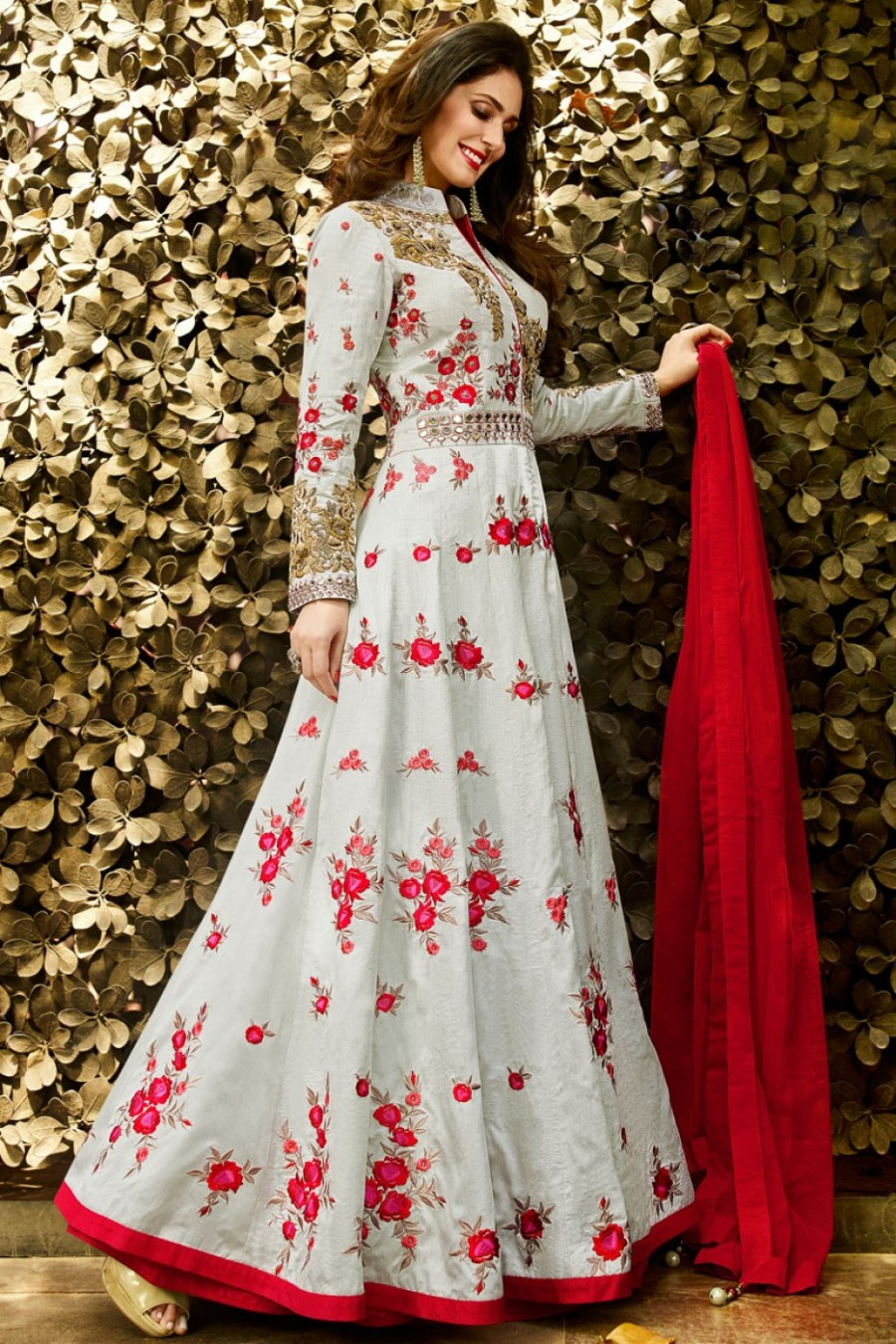 f75c54cab Buy Light Grey and Red Indo Western Style Party Wear Embroidered Grand  Lehenga in Silk Fabric