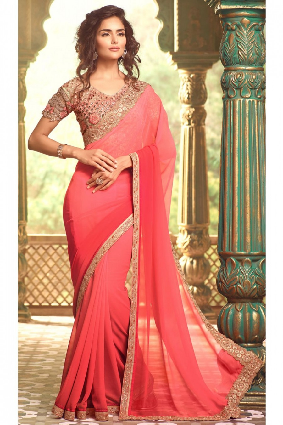 82c0015437e1d4 Buy Cut Work Border Georgette Designer Partywear Saree in Light Pink and  Rose Color with Fancy