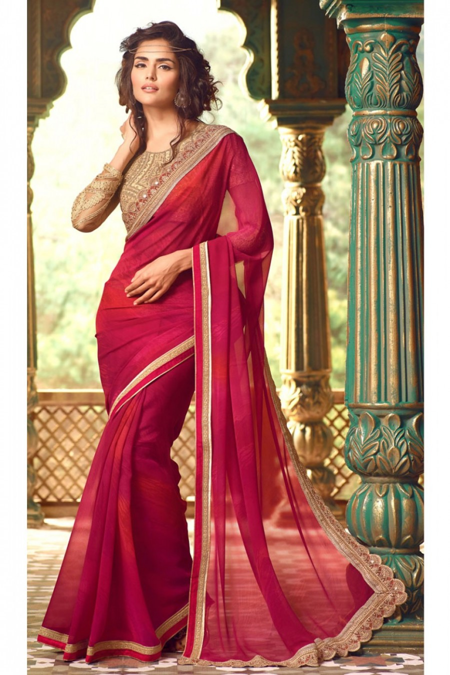 cdc264b050 Buy Red and Golden Cream Designer Embroidered Lace Border Work Saree on  Georgette Fabric with Fancy