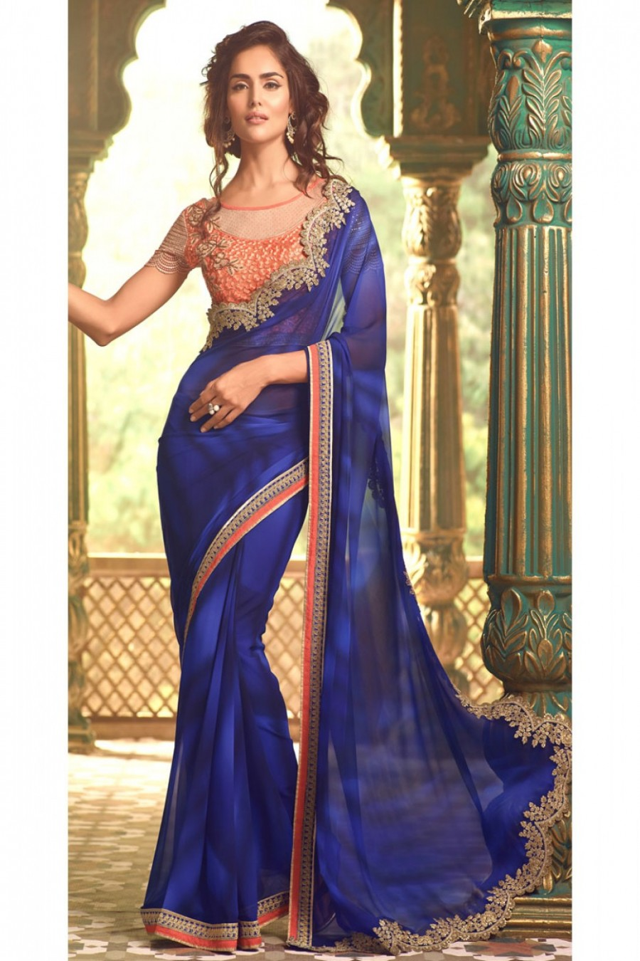 4682158b85 Buy Royal Blue and Coral Elegant Partywear Saree on Georgette Fabric with  Fancy Designer Embroidered Blouse
