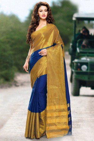 Buy Blue and Gold Cotton Silk Party Wear Saree Online