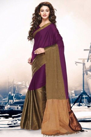 Buy Purple and Gold Party Wear Cotton Silk Saree Online