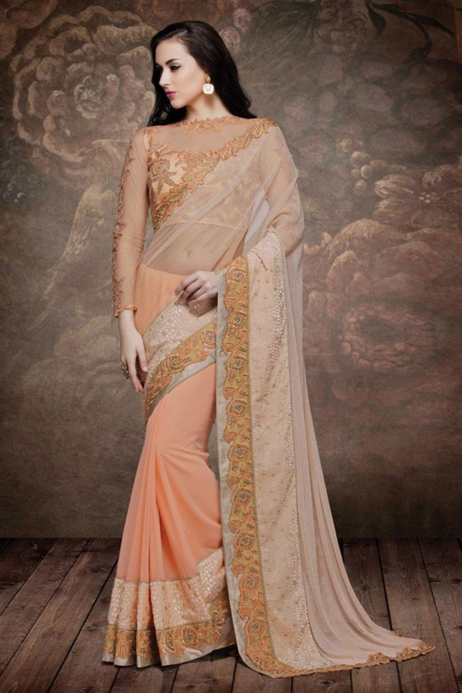 1aeabd6c5b57f0 Buy Peach Colour Net Velvet Fabric Designer Party Wear Embroidered Saree  Online