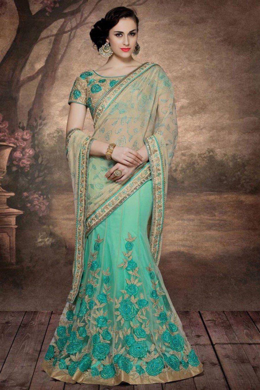 7ac5dfc6a0 Buy Beige And Sea Green Colour Designer Net Chiffon Fabric Embroidered  Lehenga Style Saree Online