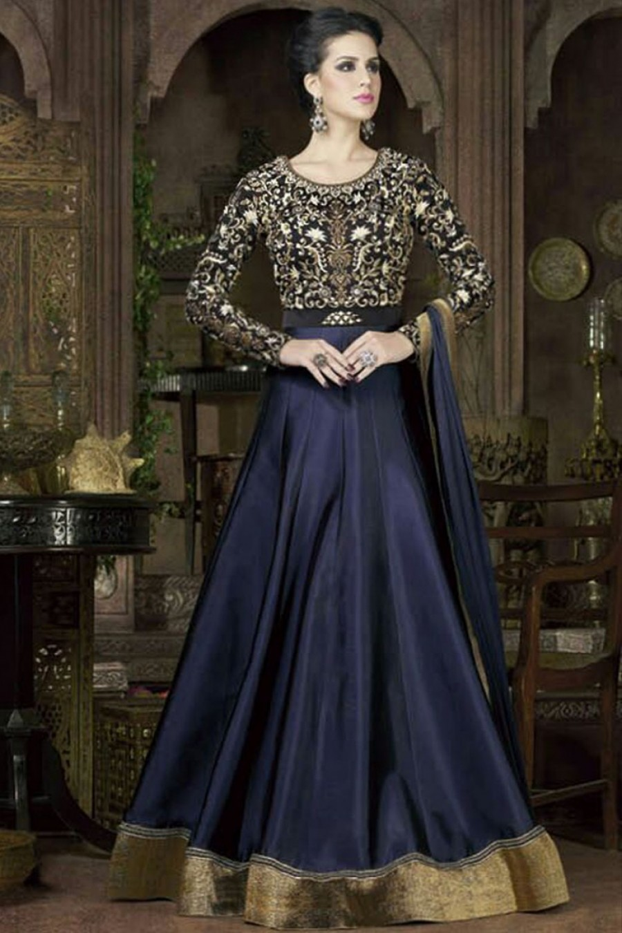 7c4dbf6ed7 Buy Navy Color Floor Length Gown Style Indian Ethnic Embroidered Partywear  Anarkali Suit on Silk Fabric