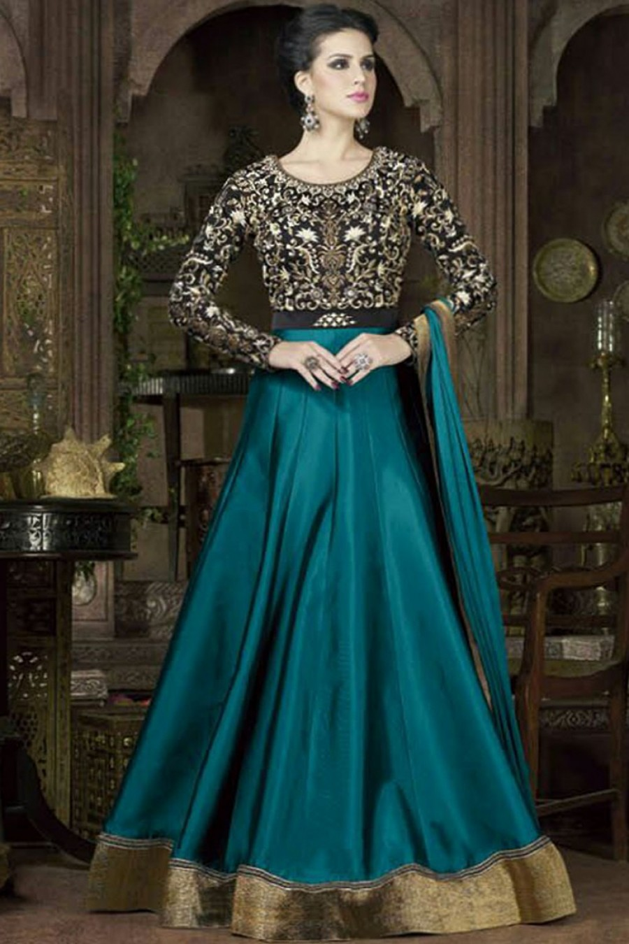 Buy Turquoise Color Floor Length Gown Style Indian Ethnic ...