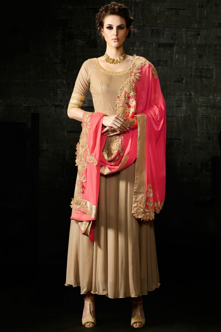 6b2ffac870 Buy Beige and Pink Designer Heavy Cut Work Embroidered Unique Anarkali  Churidar Suit in Georgette Fabric