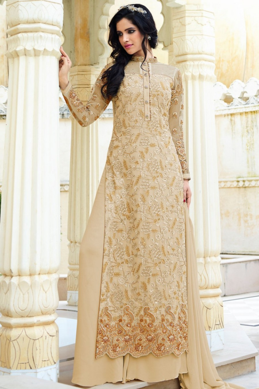 Cream And Gold Heavy Embroidered Designer Long Straight