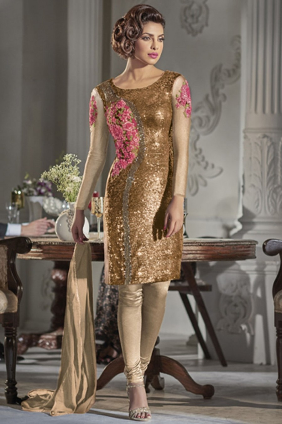 01791f81ac Buy Heavy Sequins Embroidered Net Designer Straight Cut Churidar Partywear  Suit in Gold Color Starring Priyanka
