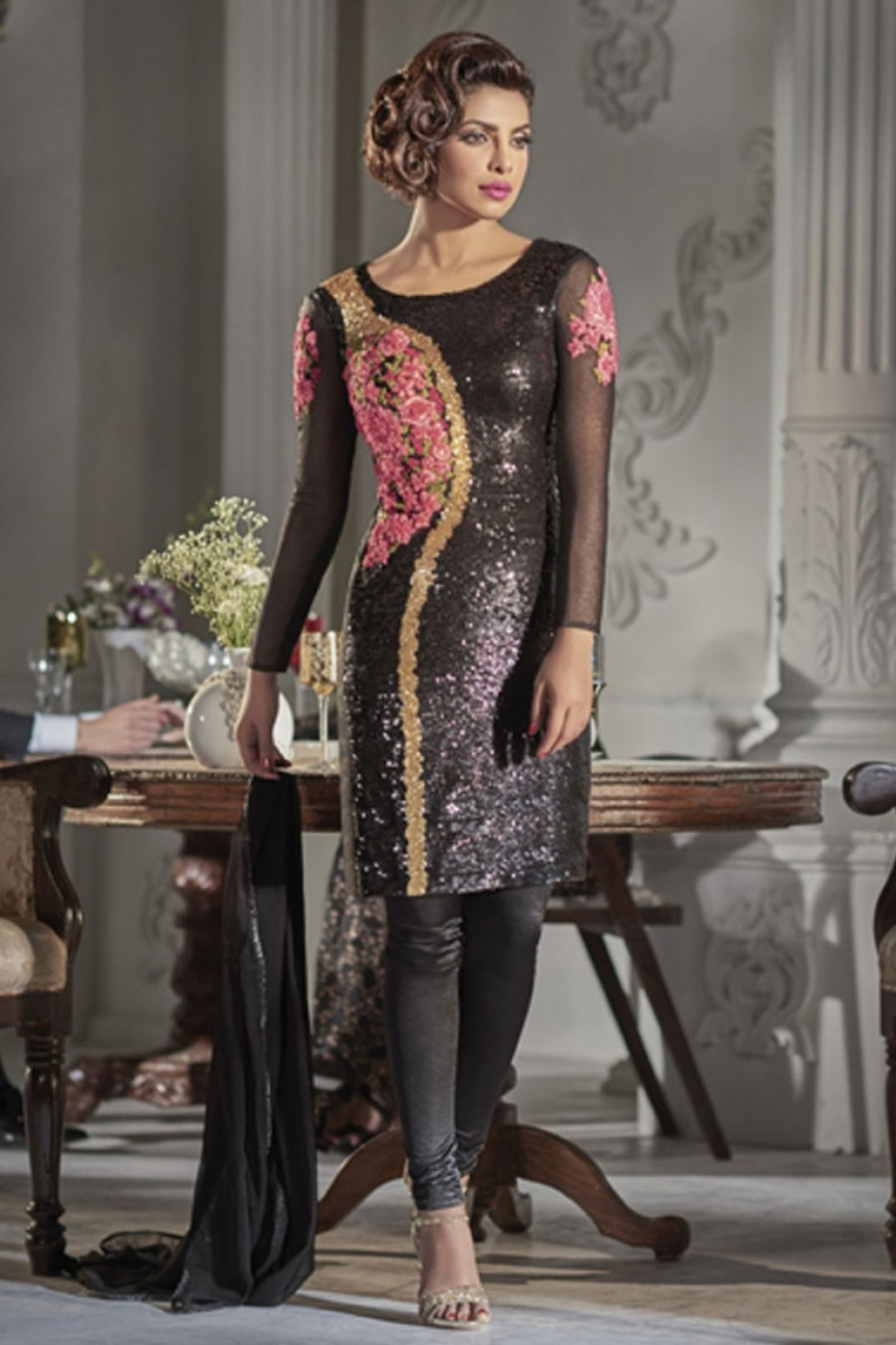 8c0a37e937 Buy Heavy Sequins Embroidered Net Designer Straight Cut Churidar Partywear  Suit in Black Color Starring Priyanka