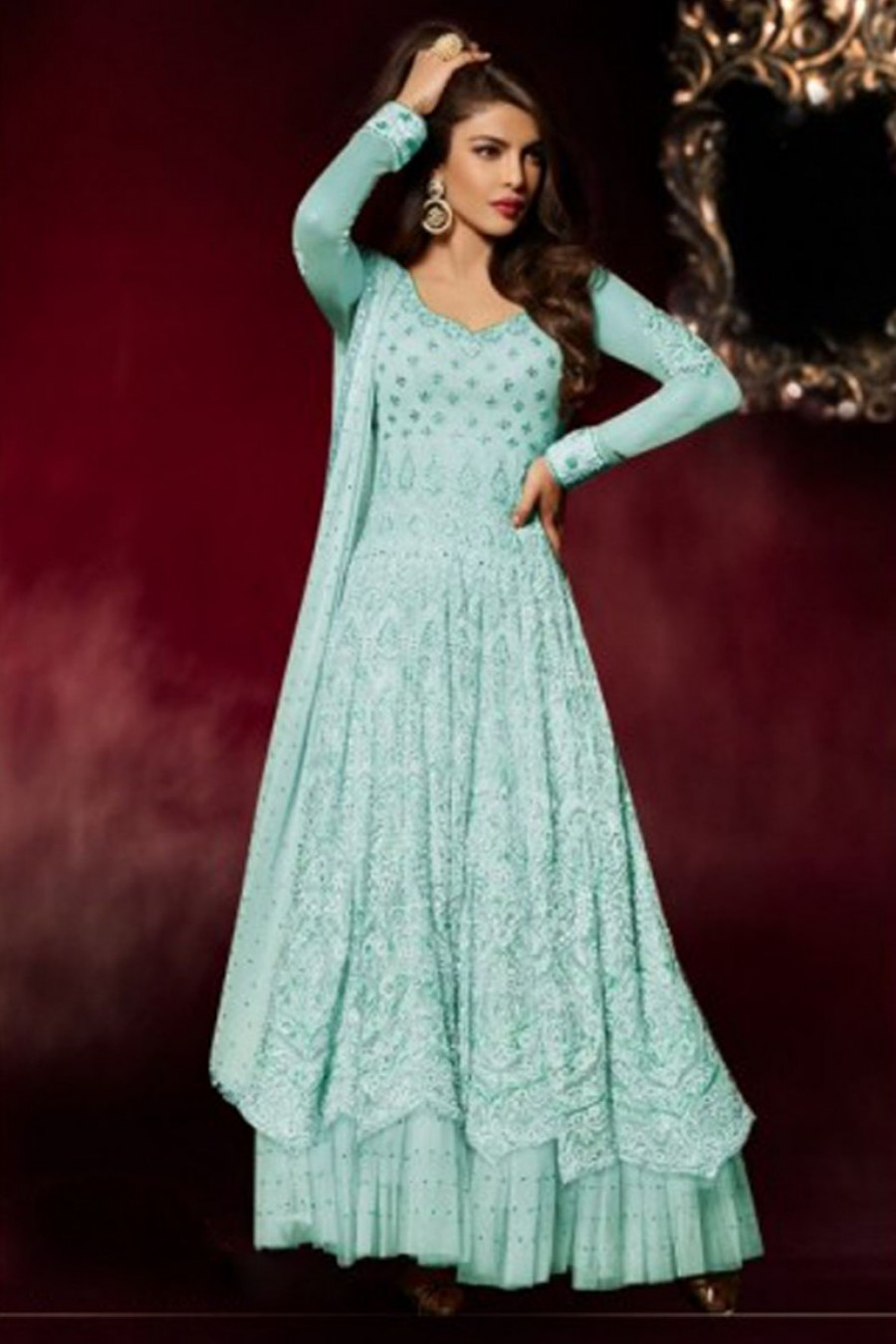 Buy Priyanka Blue Color Heavy Embroidered Bollywood Style Partywear Long Floor Length Celebrity Anarkali Dress in Net Fabric Online