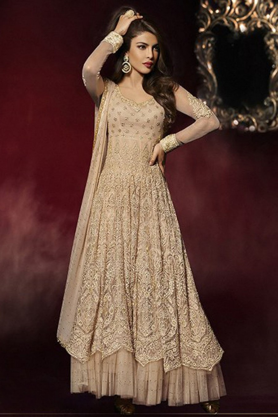 83dda0f2d Buy Priyanka Nude Beige Heavy Embroidered Bollywood Style Partywear Long  Floor Length Celebrity Anarkali Dress in