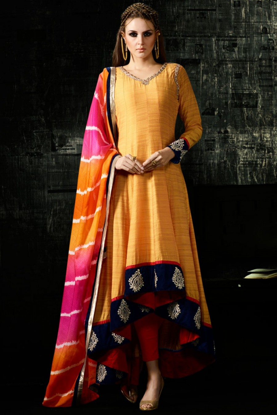 b9b6f5daa635 Buy Designer Yellow Color Pure Cotton Silk High Low Partywear Anarkali Suit  in Indian Style Online