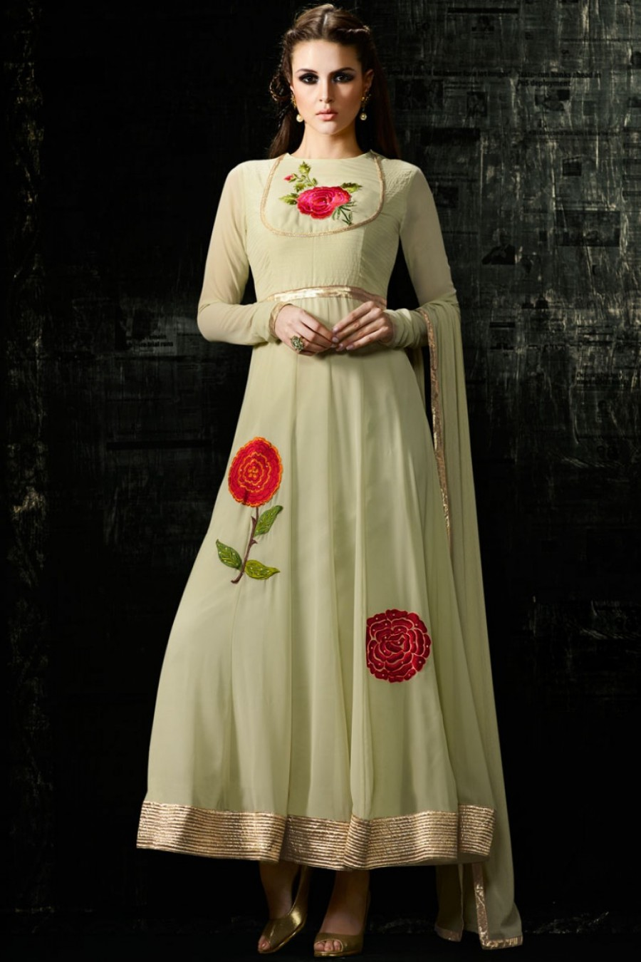 4265dd746e Buy Off White Floral Embroidered Designer Indian Ethnic Partywear Beautiful  Georgette Anarkali Dress Online