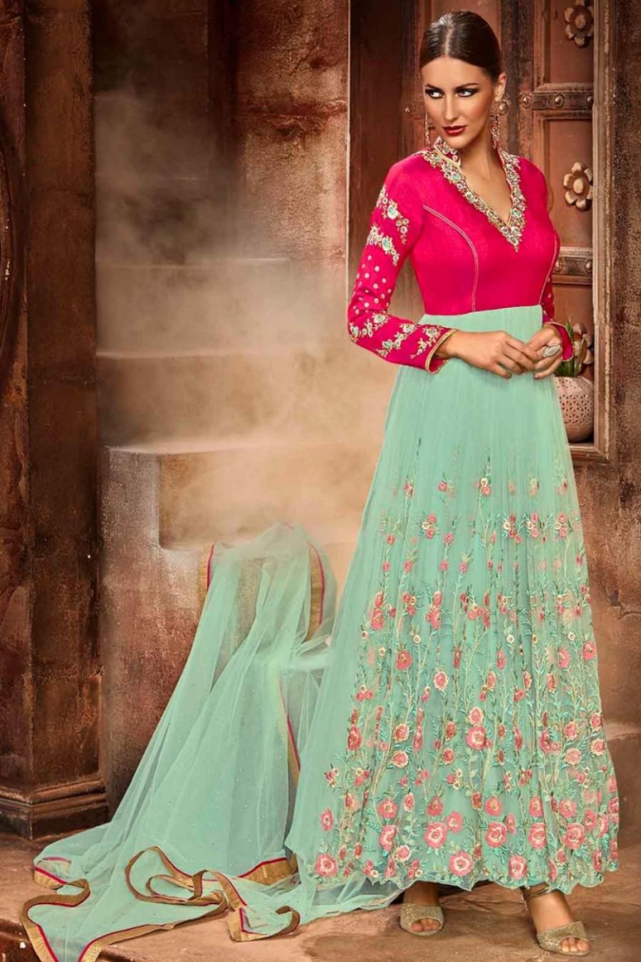 ffdd3a73de Buy Net Designer Partywear Floral Embroidered Anarkali Suit in Sea Green  and Pink Colour Online