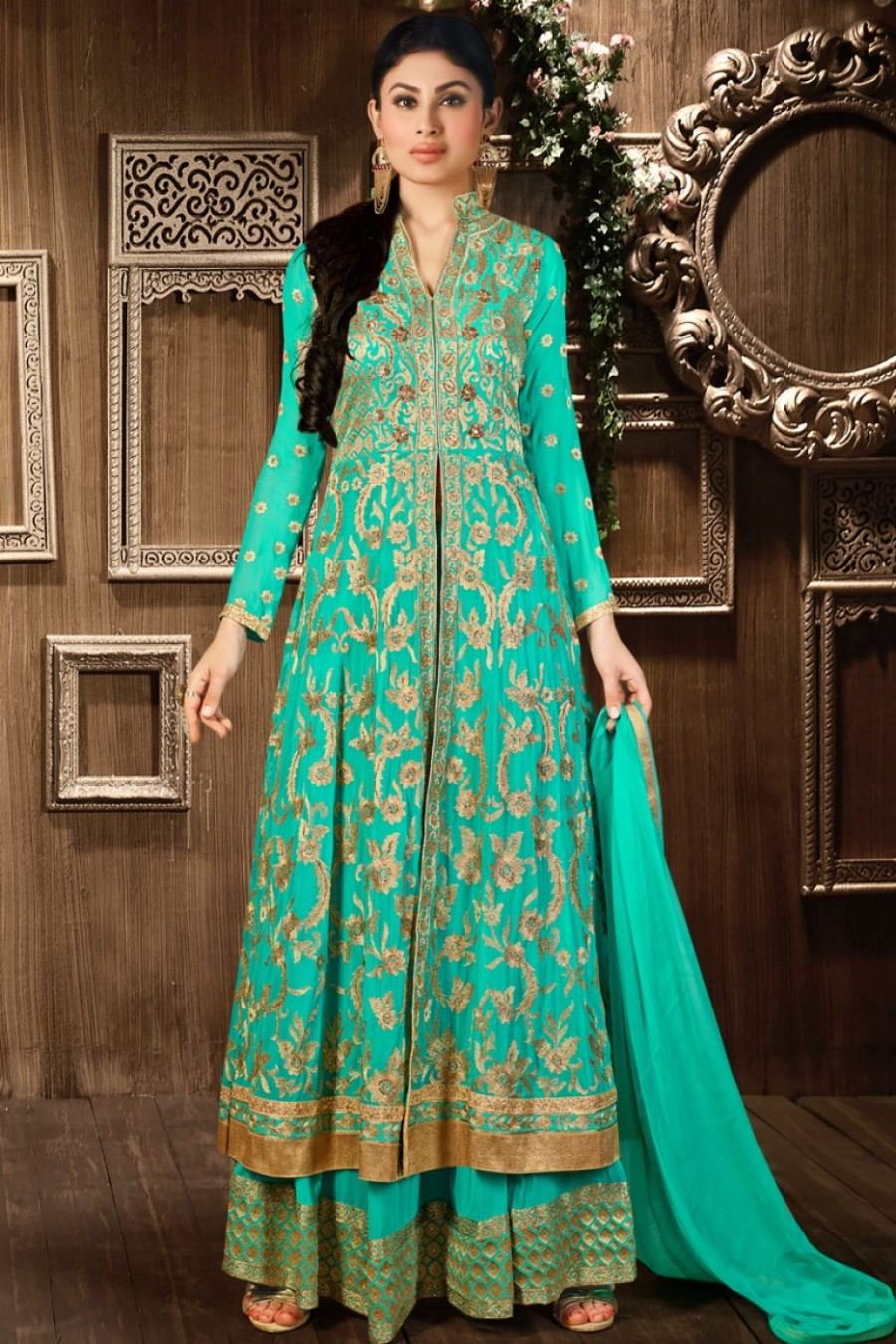 Shop Online|Green and Gold Palazzo Style Georgette Partywear ...