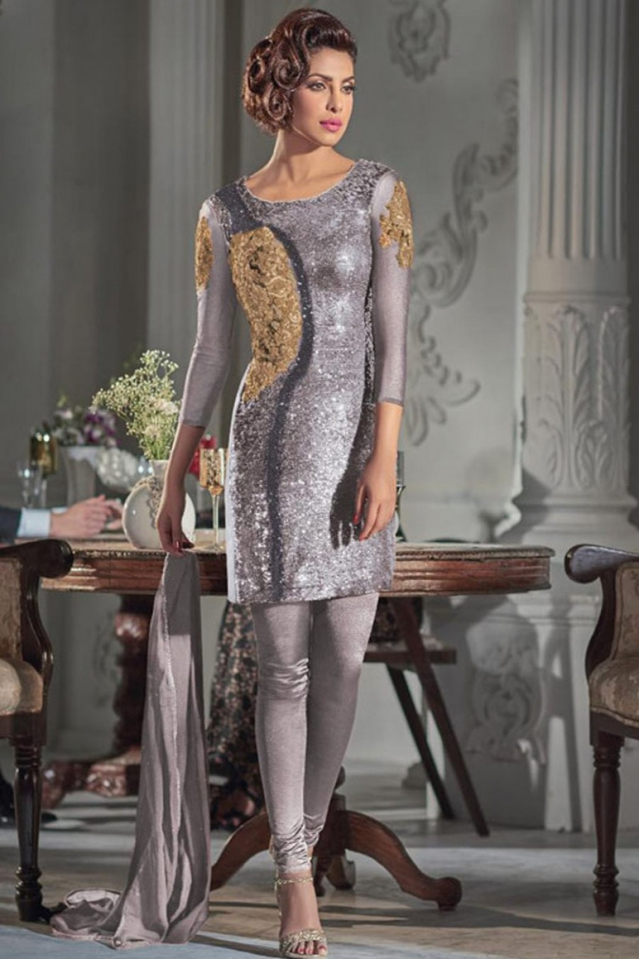 a113a7cff50 Buy Heavy Sequins Embroidered Net Designer Straight Cut Churidar Partywear  Suit in Grey Color Starring Priyanka