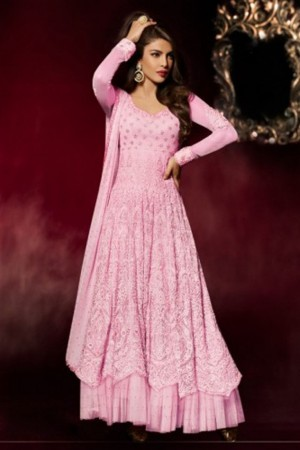 Buy Priyanka Pink Heavy Embroidered Bollywood Style Partywear Long Floor Length Celebrity Anarkali Dress in Net Fabric Online