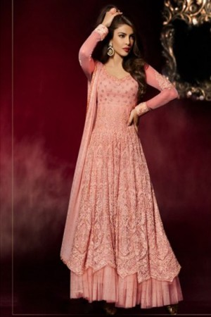 Buy Priyanka Peach Color Heavy Embroidered Bollywood Style Partywear Long Floor Length Celebrity Anarkali Dress in Net Fabric Online